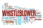 Whistleblower - company law violation. Moral responsibility concept word cloud.