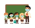 Asian male teacher and international pupils  with protective masks on their faces. Boys and girls dressed in school uniform and male teacher pointing at blackboard cartoon characters. Respiratory virus protection, allergies concept.